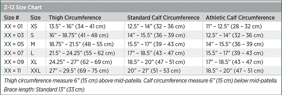 Z-12 Size Chart