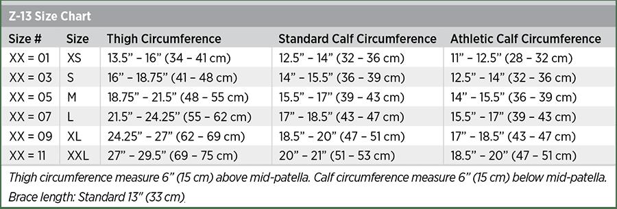 Z-13 Size Chart