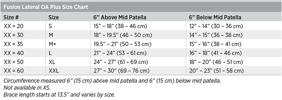 Fusion Lateral OA Plus Size Chart