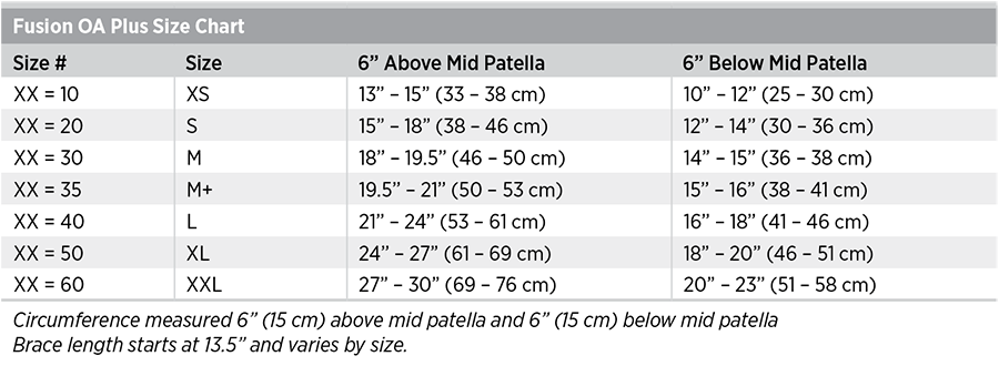Fusion OA Plus Size Chart