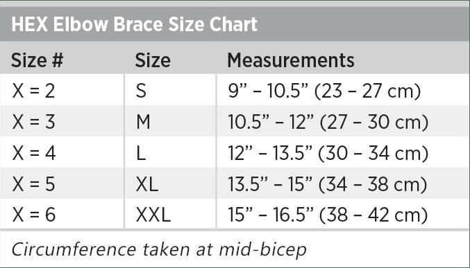 HEX Elbow Brace Size Chart