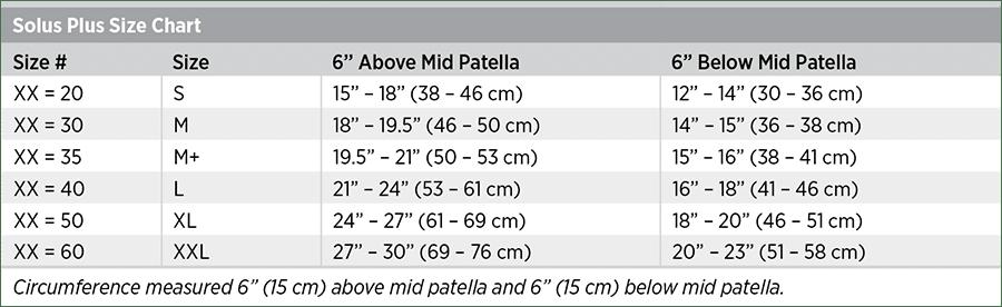 Solus Plus Size Chart