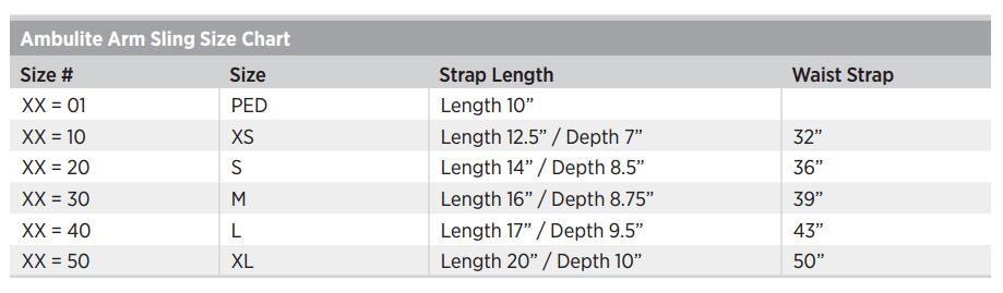Ambulite Arm Sling Sizing Chart