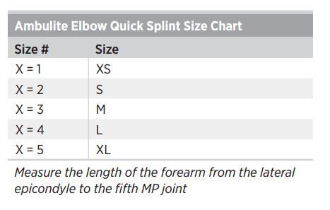 Ambulite Elbow Quick Splint Size Chart