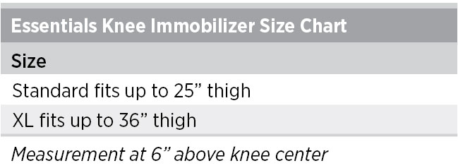 Essentials Knee Immobilizer Sizing Chart