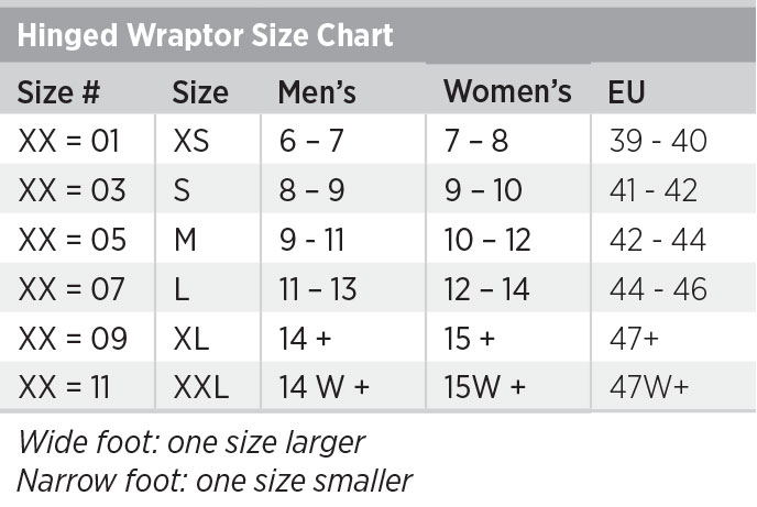 Hinged Wraptor Size Chart