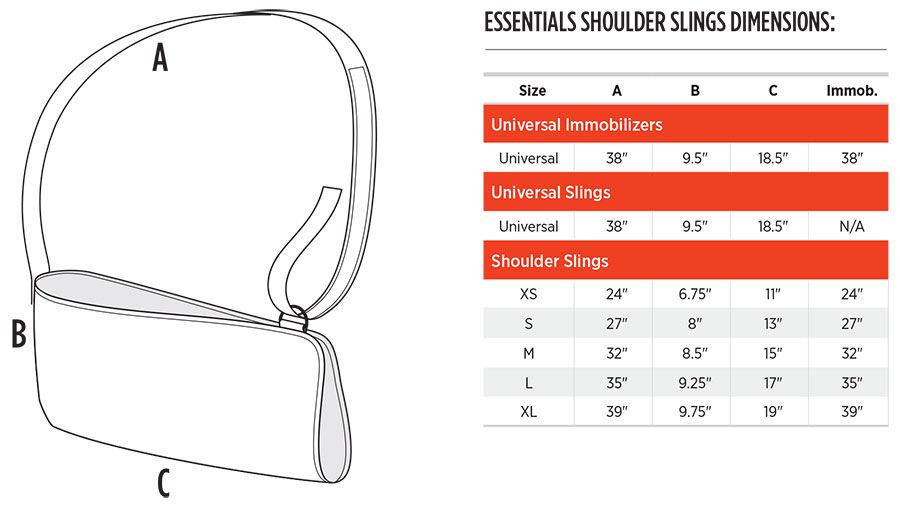 Shoulder Slings Sizing Chart