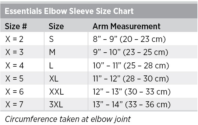 Elbow Sleeve Sizing Chart
