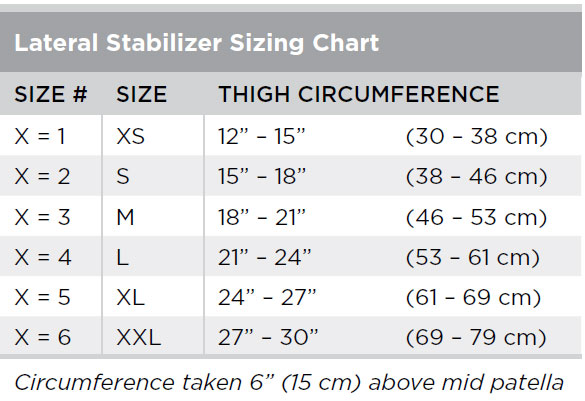 Lateral Stabilizer Sizing Chart