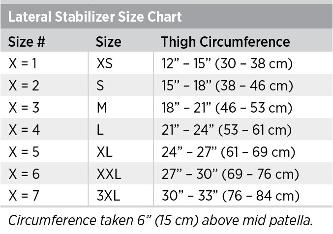 Lateral Stabilizer Size Chart