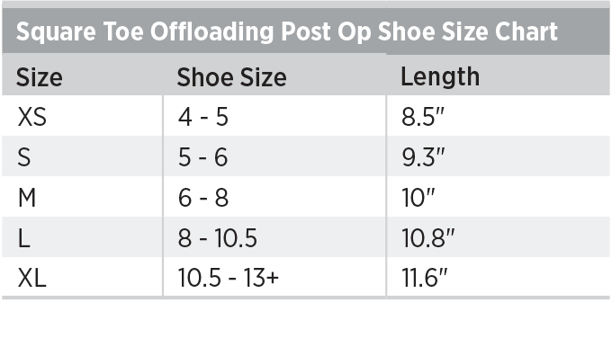 Square Toe Offloading Post Op Shoe Size Chart