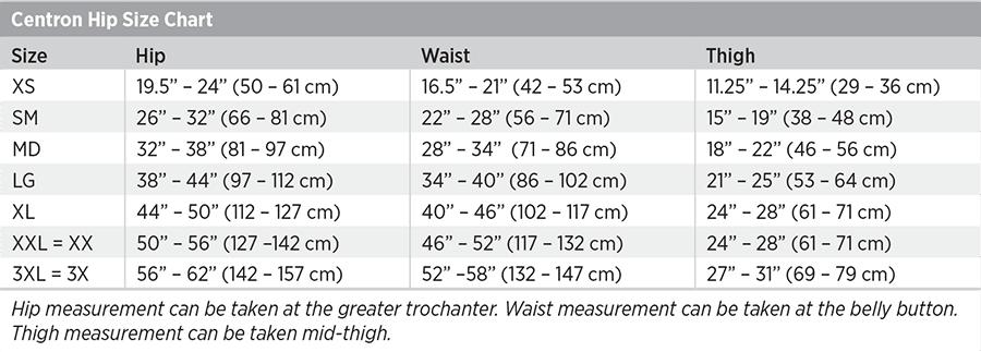 Centron Hip Size Chart