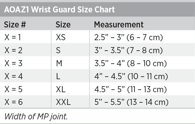 AOAZ1 Wrist Guard Size Chart