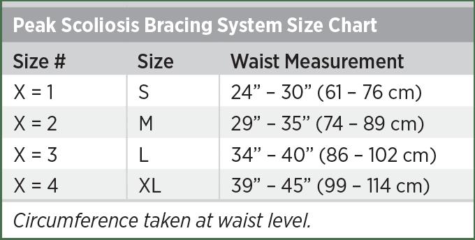 Peak Scoliosis Bracing System Size Chart