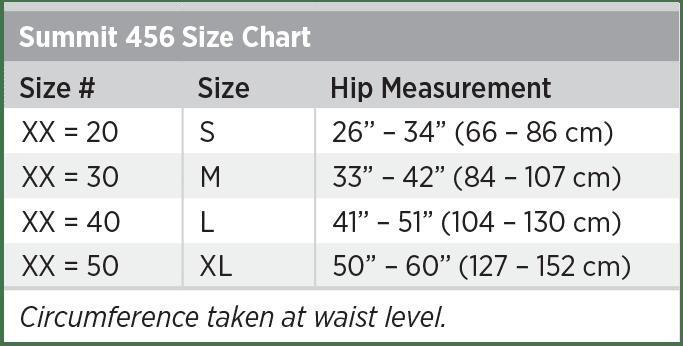 Summit 456 Size Chart