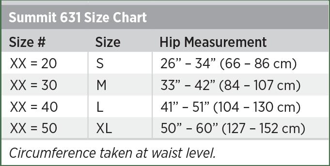 Summit 631 Size Chart