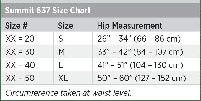 Summit 637 Size Chart