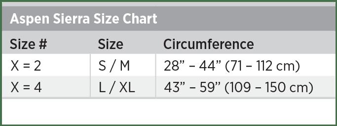 Aspen Sierra Size Chart